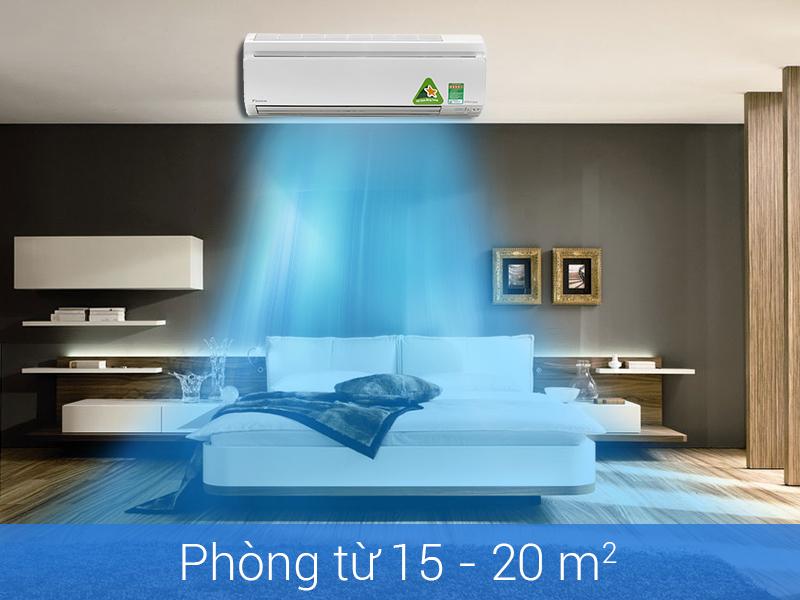 Điều hòa daikin 9000btu 2 chiều inverter phù hợp với diện tích phòng dưới 15m2
