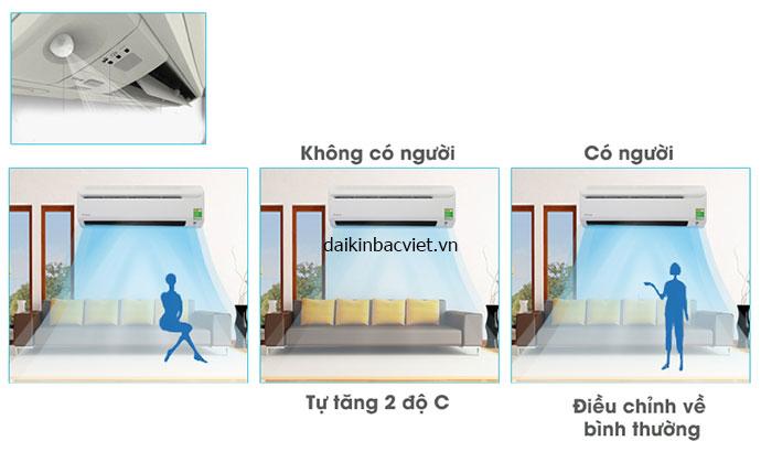 Điều hòa daikin 9000btu 1 chiều inverter FTKC25QVMV được tích hợp mắt thần thông minh tăng khẳ năng tiết kiệm điện